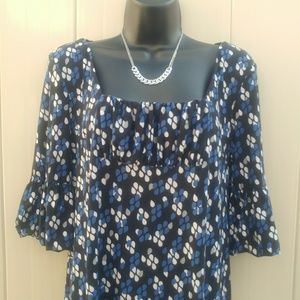 Dress: AGB black and blue with bell sleeves